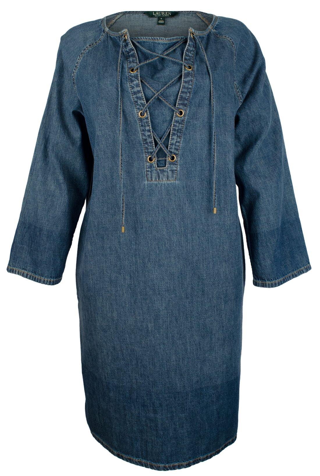 Lauren by Ralph Lauren Women's Petite Lace-Up Denim Cotton Shift Dress-CW-PS