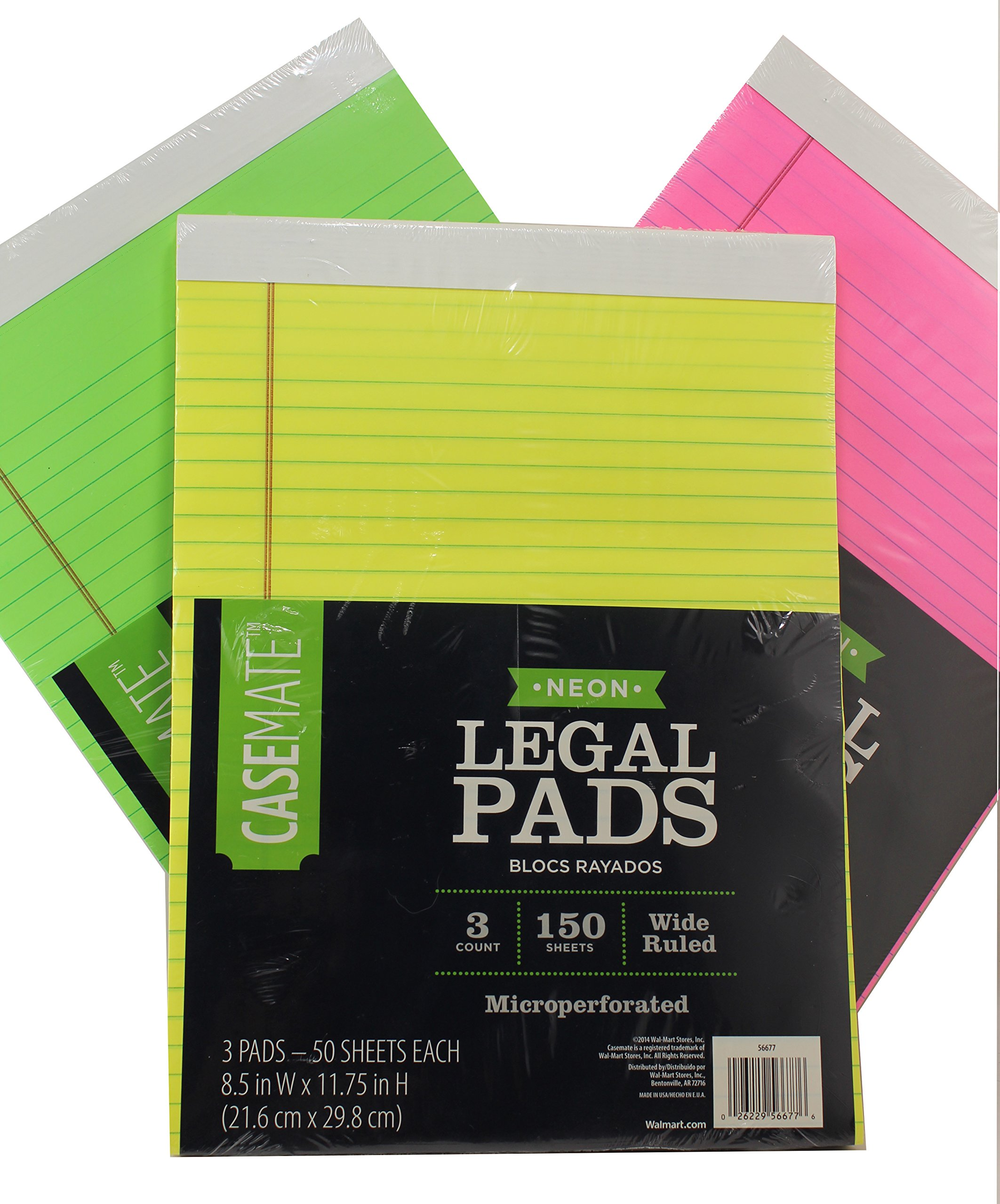 Casemate Neon Legal Notepads Wide Ruled Bundle Value Pack [3 Pink Pads, 150 Sheets], [3 Green Pads, 150 Sheets], [3 Yellow Pads 150 Sheets] 8.5'' W x 11.75'' H