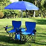 ARLIME Double Folding Camping Chairs, Outdoor Picnic Portable Detachable Chairs with Removable Umbrella & Mini Table Carrying
