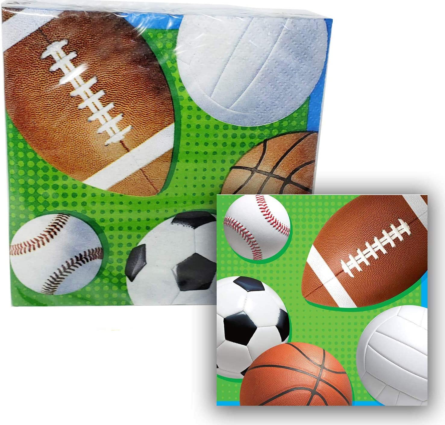 Party Sports Themed Beverage Napkins (192 count) Football, Baseball, Soccer, Volleyballs - 2-ply 16 x 12 packs