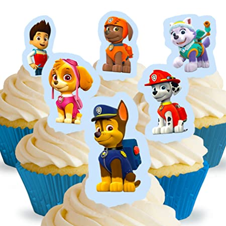 Cakeshop 12 X Pre Cut Paw Patrol Stand Up Edible Cake Toppers