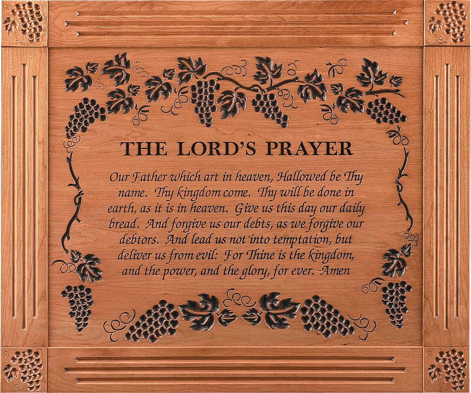 The Lord's Prayer Grape Vine 39 x 33 Cherry Wood Carved Wall Mounted Plaque by P Graham Dunn