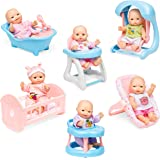 Best Choice Products Set of 6 Mini Baby Dolls Toy w/Cradle, High Chair, Walker, Swing, Bathtub, Infant Seat
