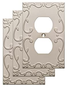 Franklin Brass W35071V-SN-C Classic Lace Single Duplex Wall Plate/Switch Plate/Cover (3 Pack), Satin Nickel