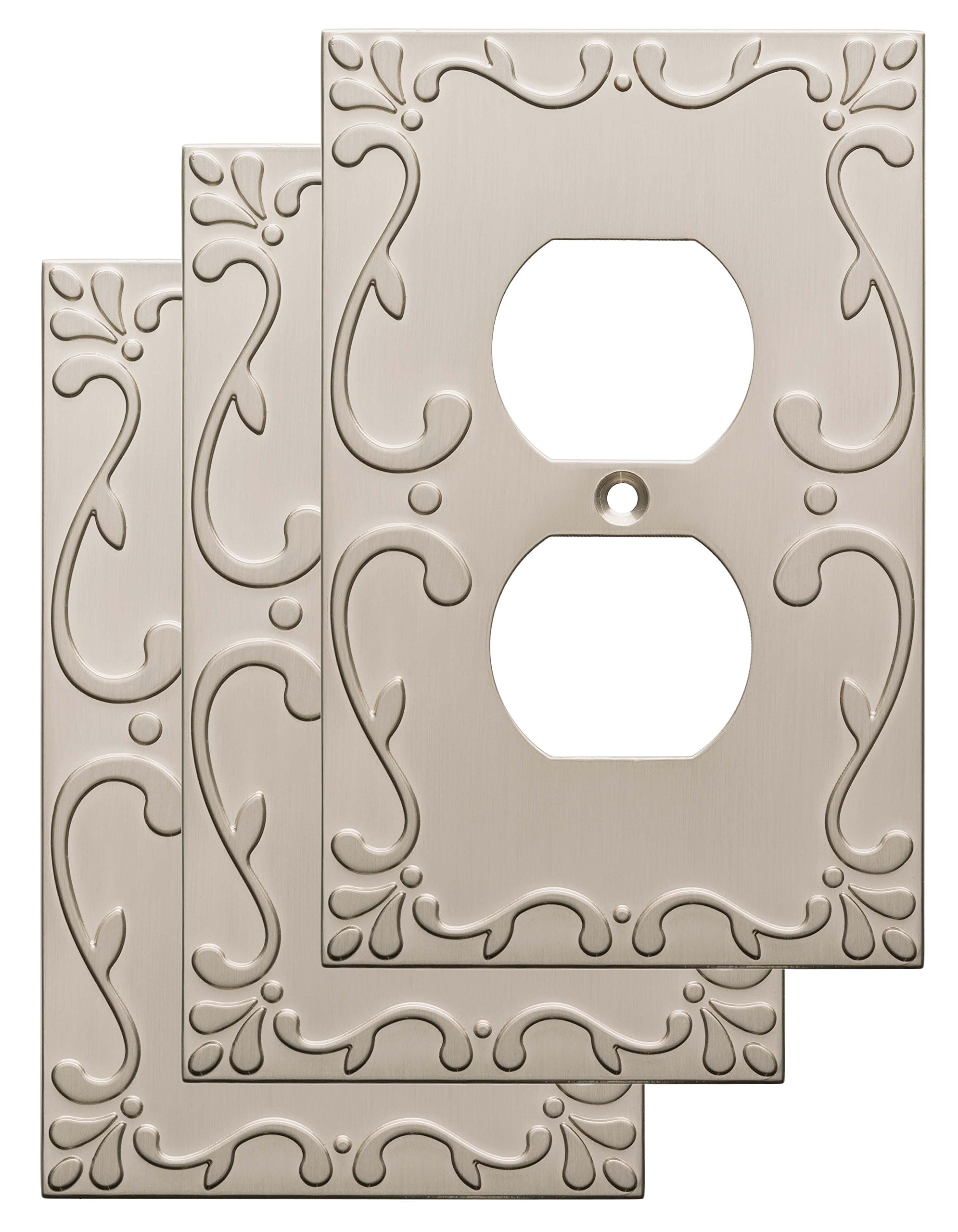 Franklin Brass W35071V-SN-C Classic Lace Single Duplex Wall Plate/Switch Plate/Cover (3 Pack), Satin Nickel by Franklin Brass