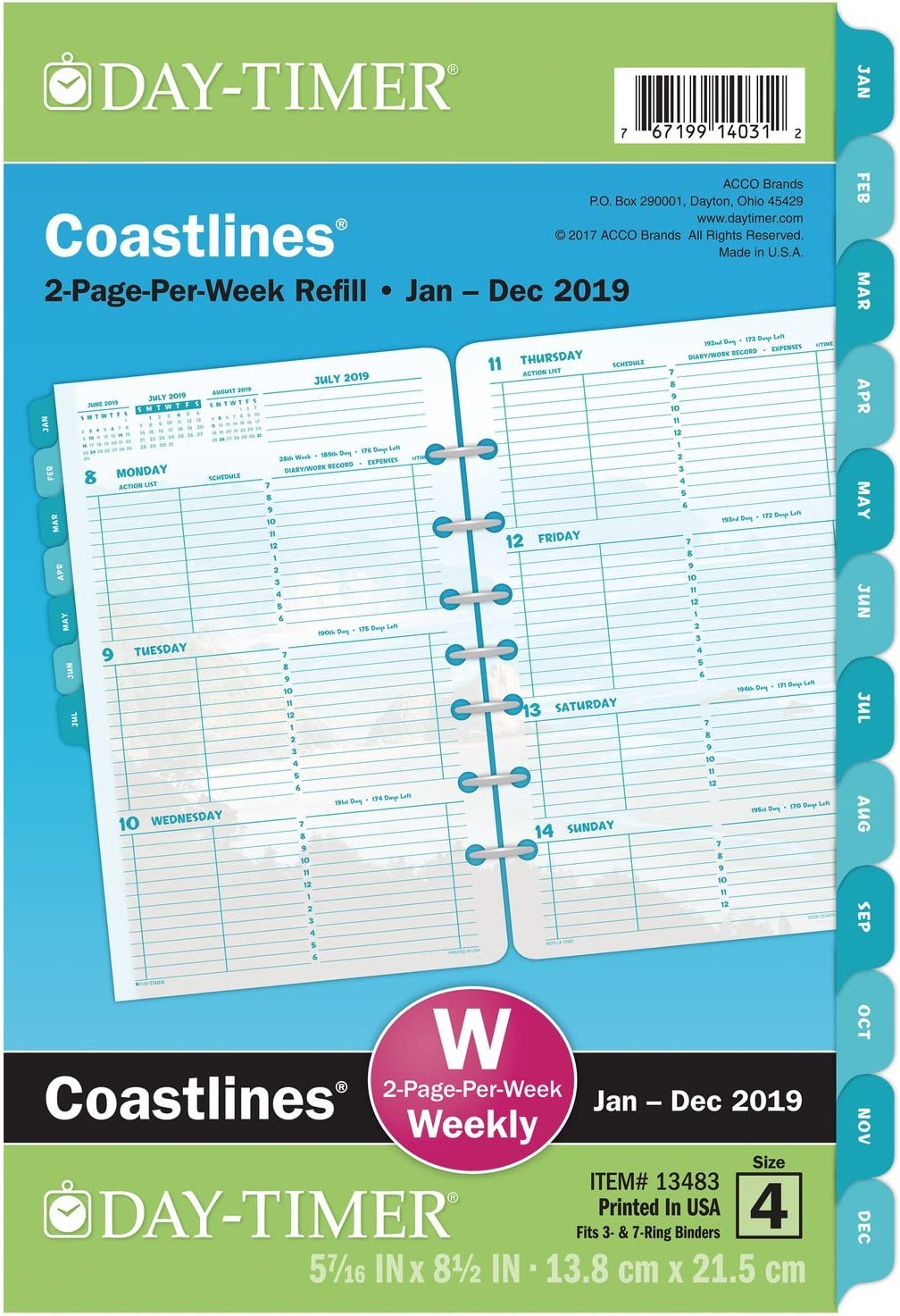 """Day-Timer 2019 Weekly Planner Refill, 5-1/2"""" x 8-1/2"""", Desk Size 4, Two Pages Per Week, Loose Leaf, Coastlines (13483)"""