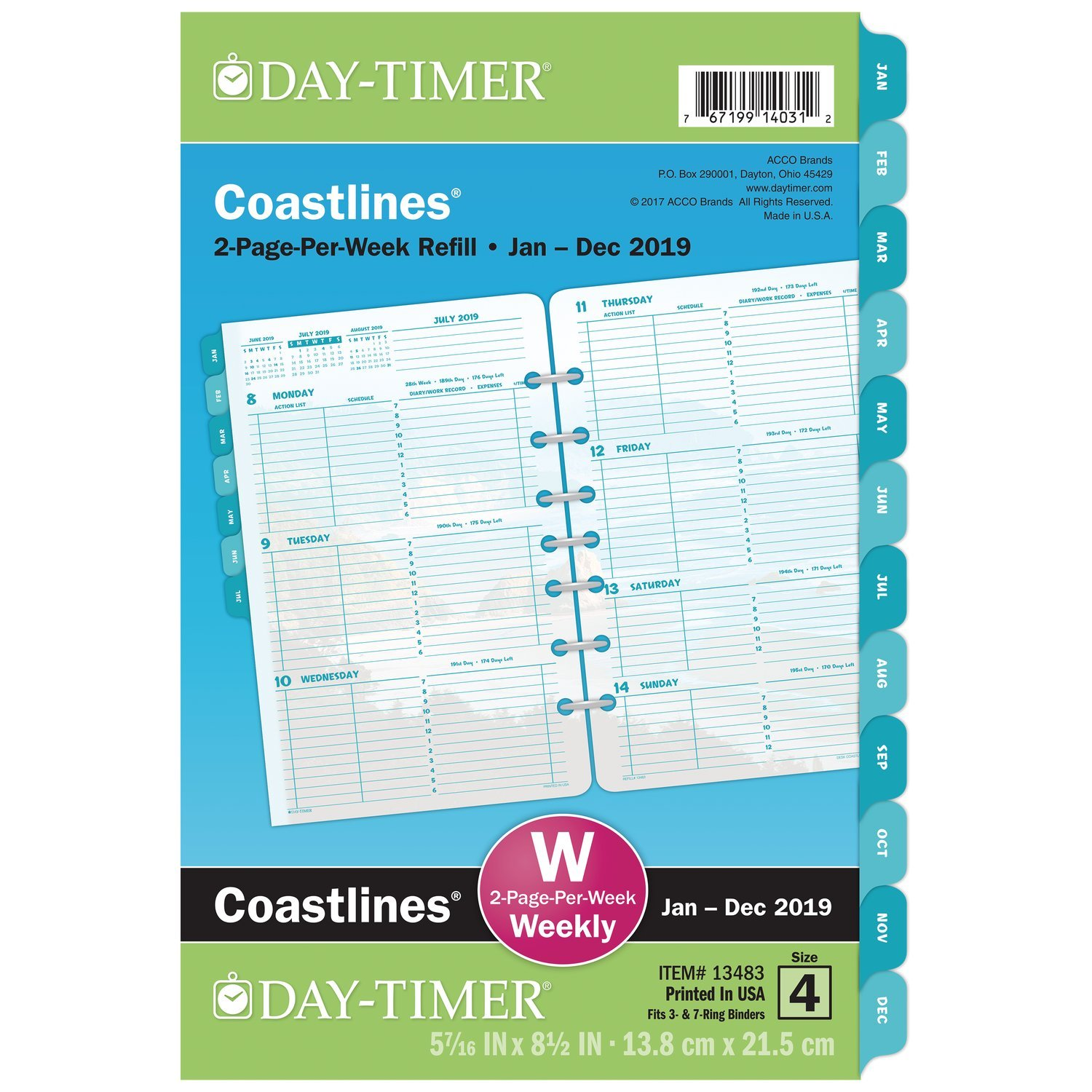 """Day-Timer 2019 Weekly Planner Refill, 5-1/2'' x 8-1/2"""", Desk Size 4, Loose Leaf, Two Pages Per Week, Coastlines (13483)"""