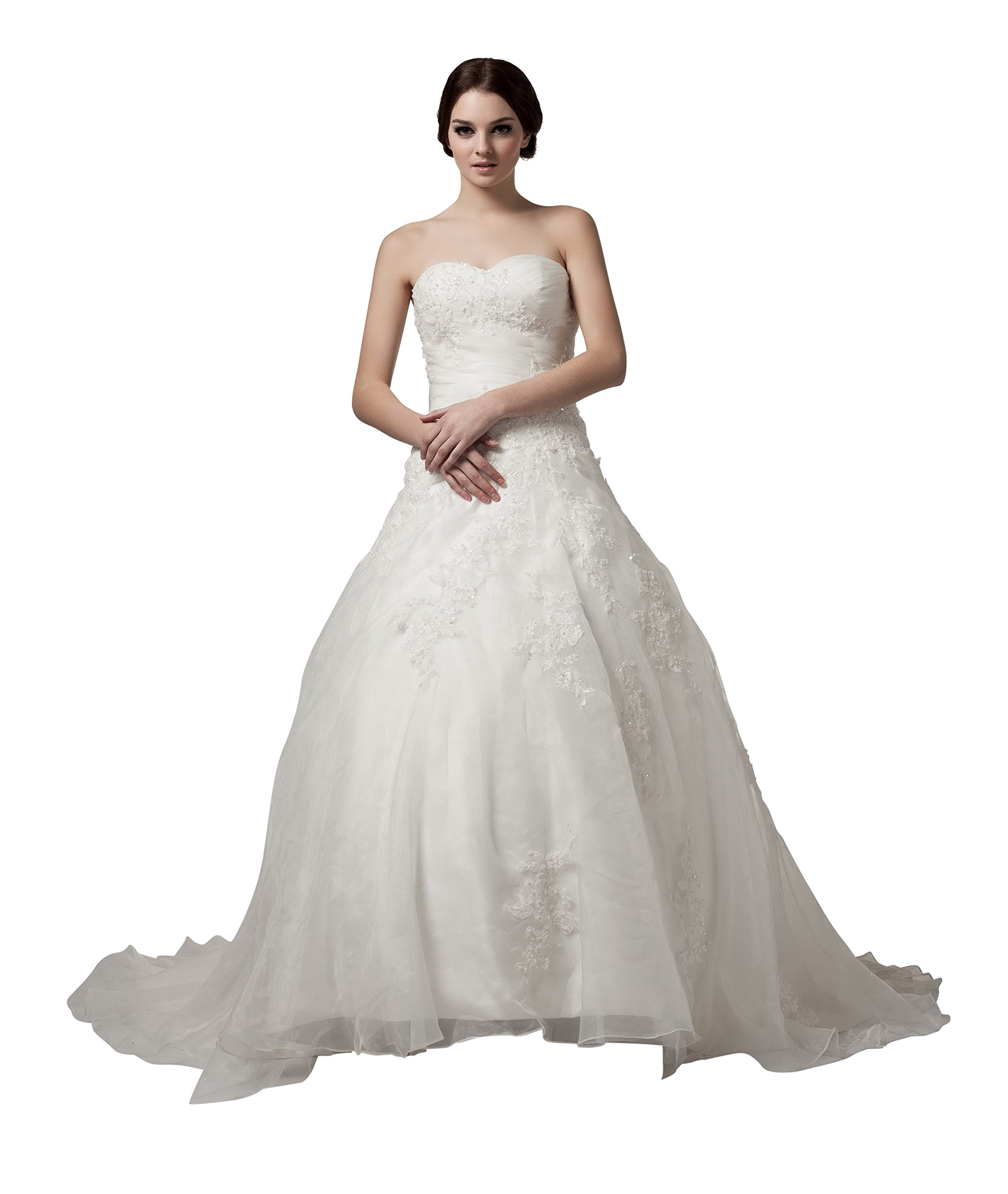 VogueZone009 Womens Sweetheart Pongee Satin Wedding Dress with Floral, ColorCards, 18W by VogueZone009