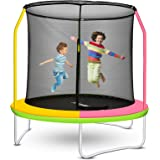 FAMIES Kids Trampoline Indoor with Enclosure Net,8ft Safety Jumping Exercise Trampoline for Multiple Children 2-12 Years Old