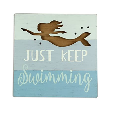 Youngu0027s Just Keep Swimming Mermaid Wall Art Sign, 13.25u0026quot; ...