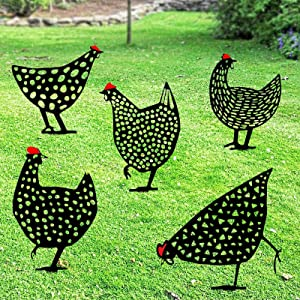 Snaoturiy 5 PCS Acrylic Chicken Yard Garden Decoration, Hen Silhouette Shadow Stakes Outdoor Chicken Yard Sign, Hollow Rooster Animal Shape Art Decorative ornaments Garden Stakes for Sidewalk,Backyard
