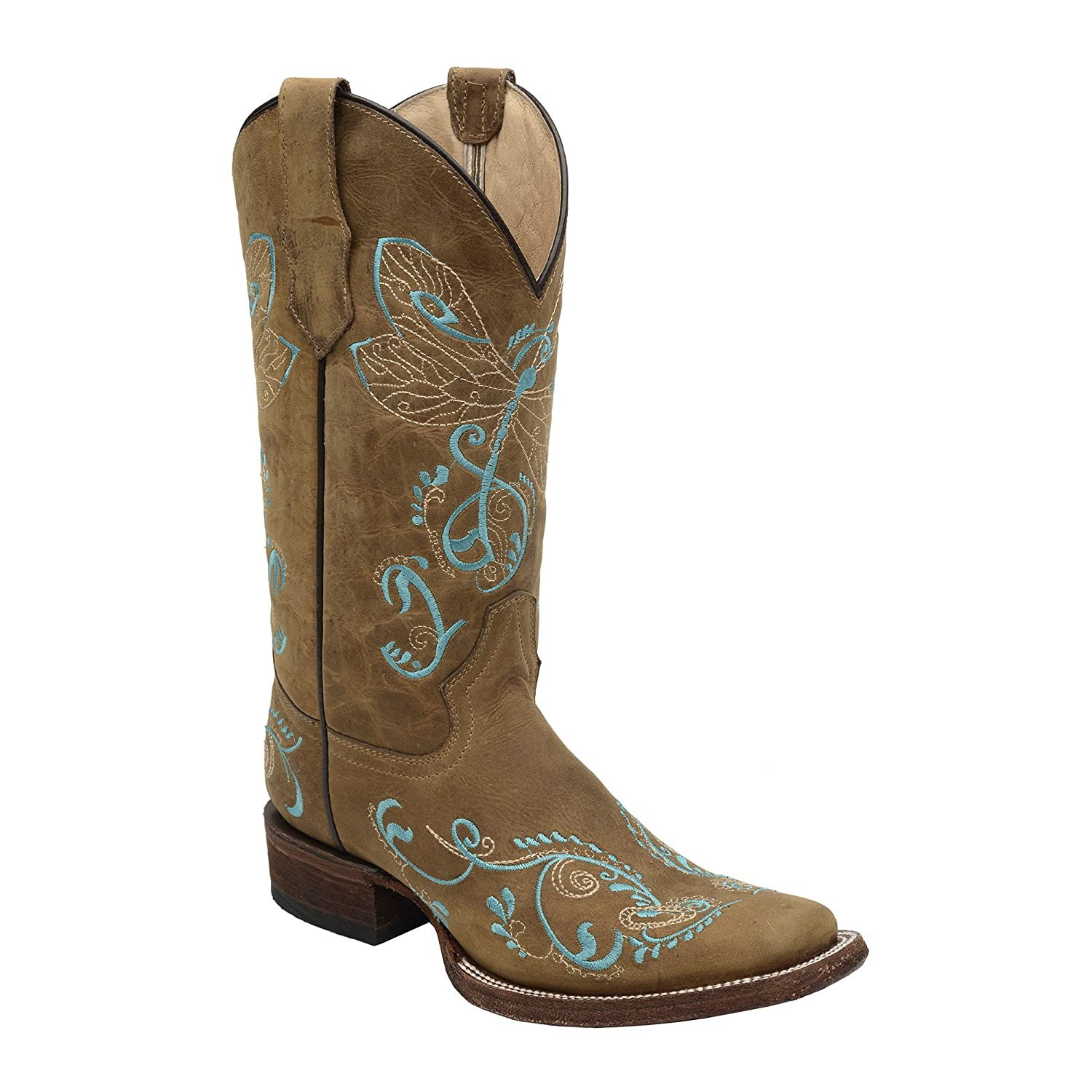 Corral Women's Dragonfly Embroidery Square Toe Western Boots B00XM33ZO0 10 B(M) US|Brown