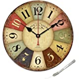 Reloj de pared de madera de 30CM Vintage estilo europeo