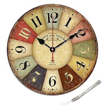 Reloj de pared de madera de 30CM Vintage estilo europeo: Amazon.es: Electrónica