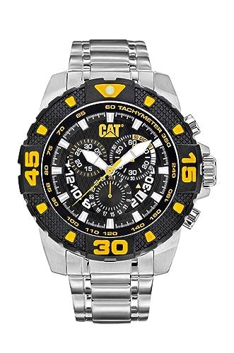CAT DP sport Evo. Reloj de cuarzo para hombre con esfera analógica de color negro y pulsera de goma color plata. PT.143.11.127: Amazon.es: Relojes
