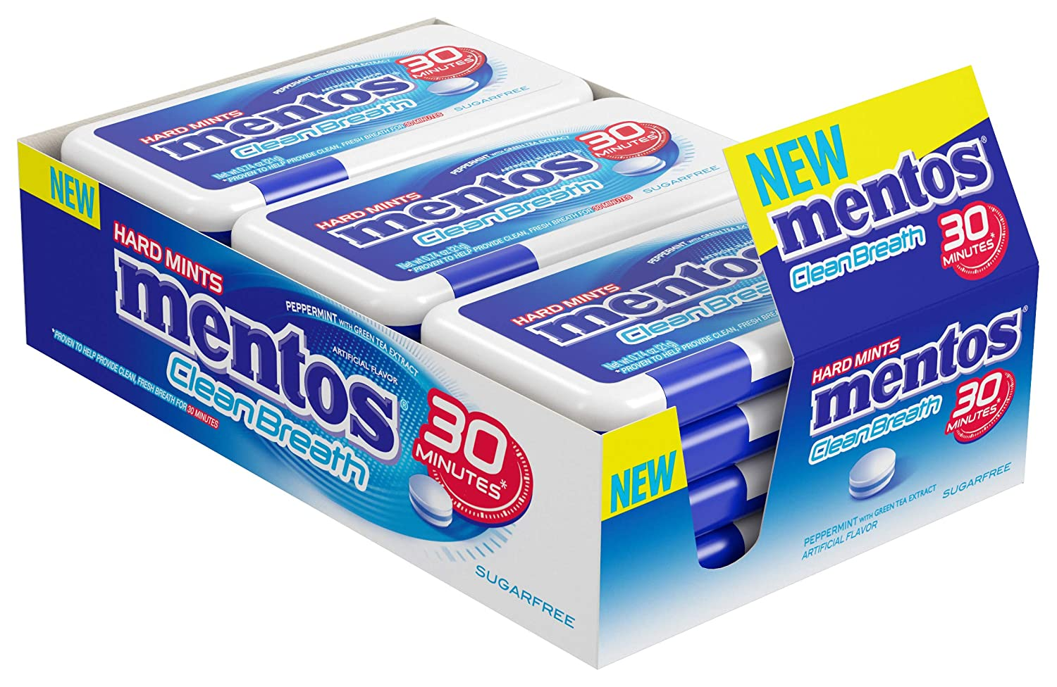 Mentos Clean Breath Hard Mints Sugar Free Candy, Peppermint, Bulk Pack of 12