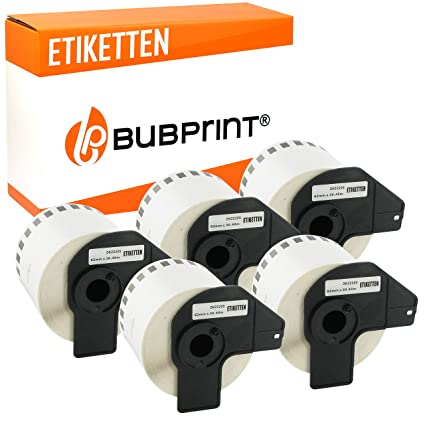 5x kompatible Label Etiketten Rollen für Brother P Touch QL 570 DK11202 Schwarz