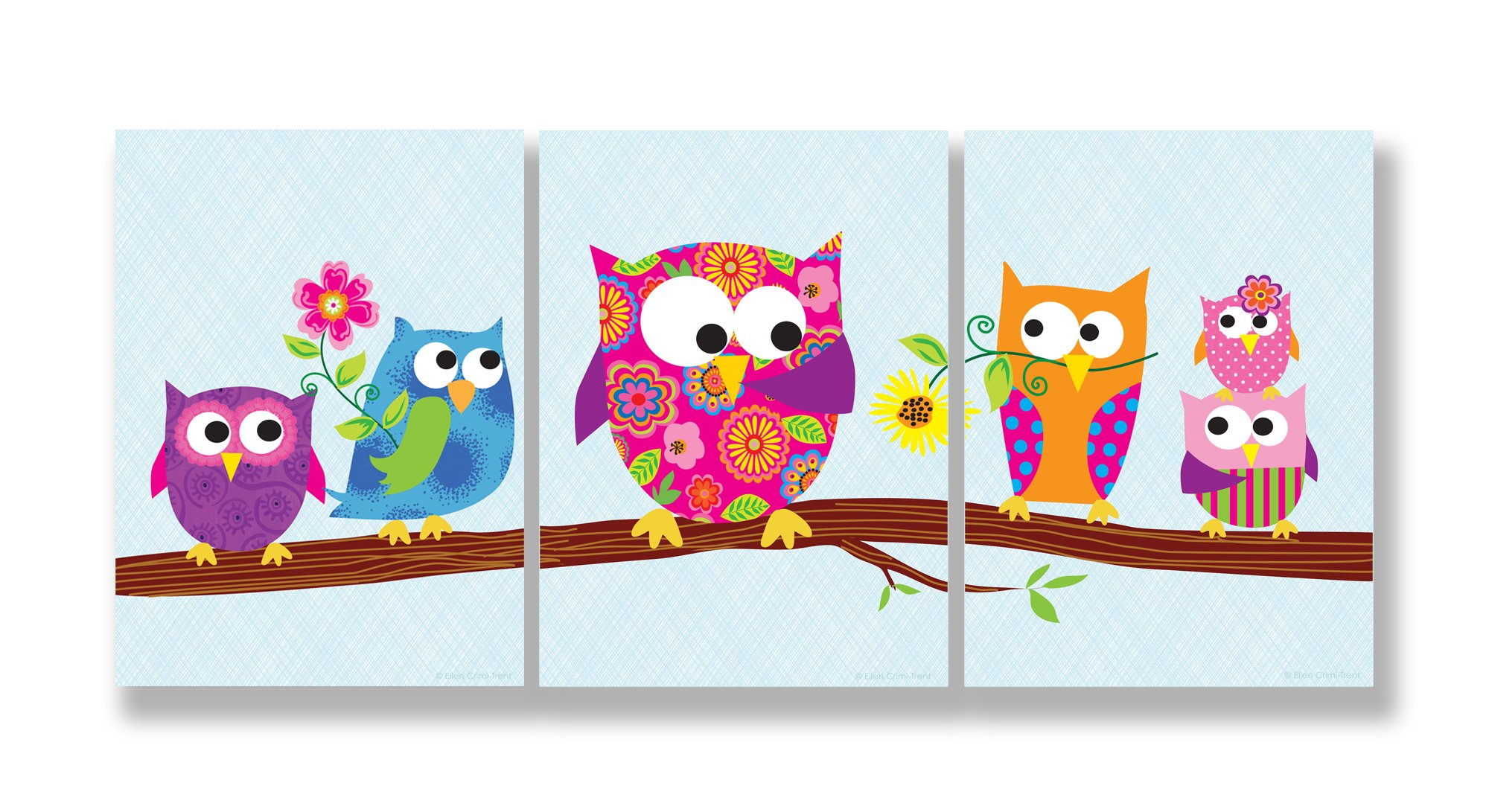 The Kids Room by Stupell Owls On A Branch 3-Pc. Rectangle Wall Plaque Set, 11 x 0.5 x 15, Proudly Made in USA