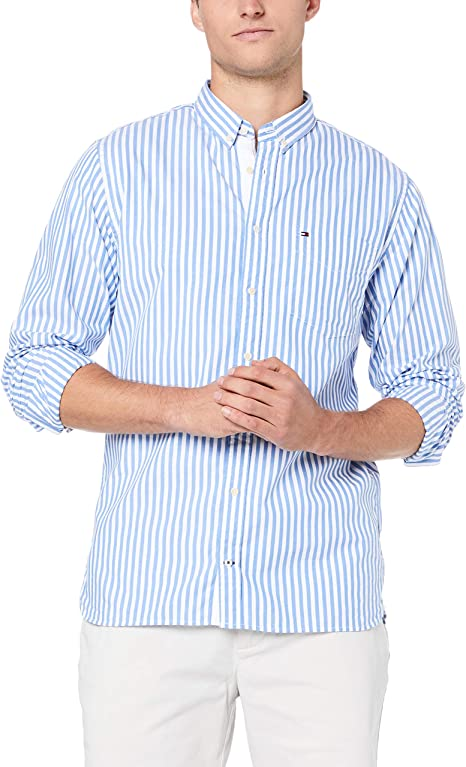 TOMMY HILFIGER Men - Pure cotton stripe shirt - Size XXL: Amazon ...