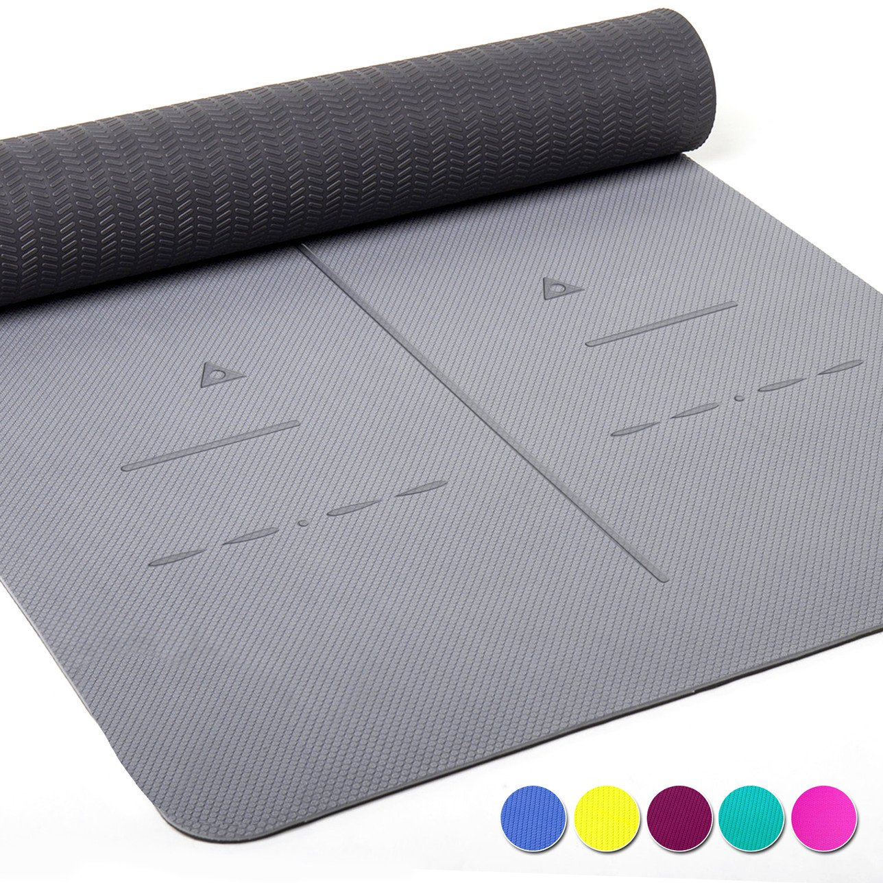 Heathyoga Eco Friendly Non Slip Yoga Mat, Body Alignment System, SGS Certified TPE Material - Textured Non Slip Surface and Optimal Cushioning,72''x 26'' Thickness 1/4'' (Ashy-Dark) by Heathyoga