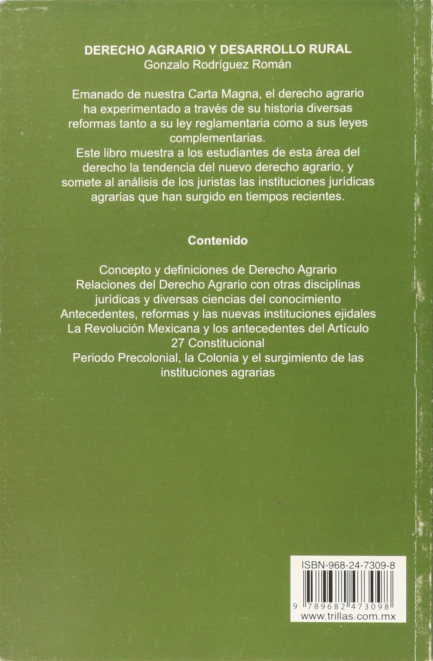 Derecho agrario y desarrollo rural/Agricultural law and rural development: Amazon.es: Gonzalo Rodriguez Roman: Libros