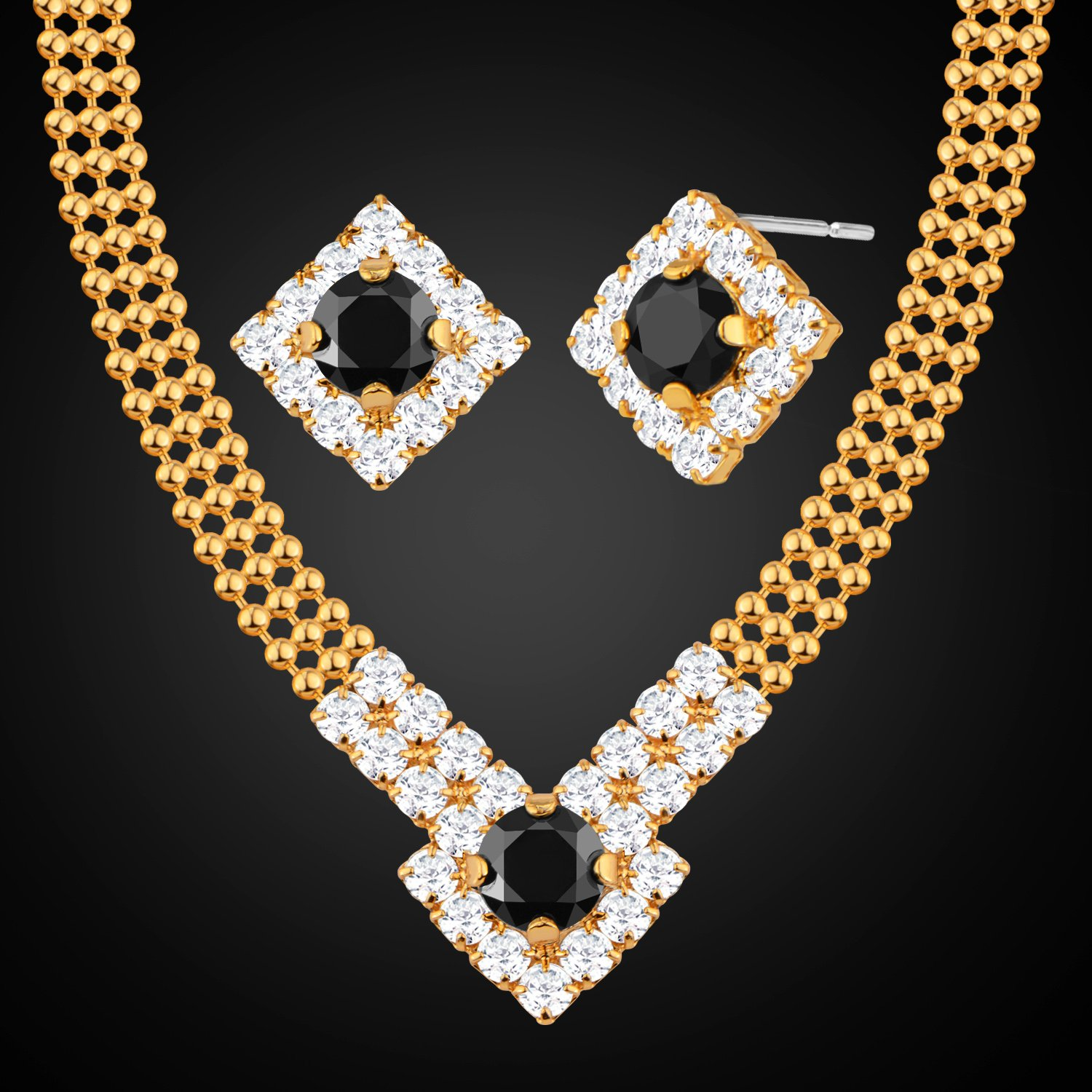 Girl Charm Jewelry Sets Party Gifts 18K Real Gold Plated Necklace Earrings set NB60096-gold DODO Jewelry