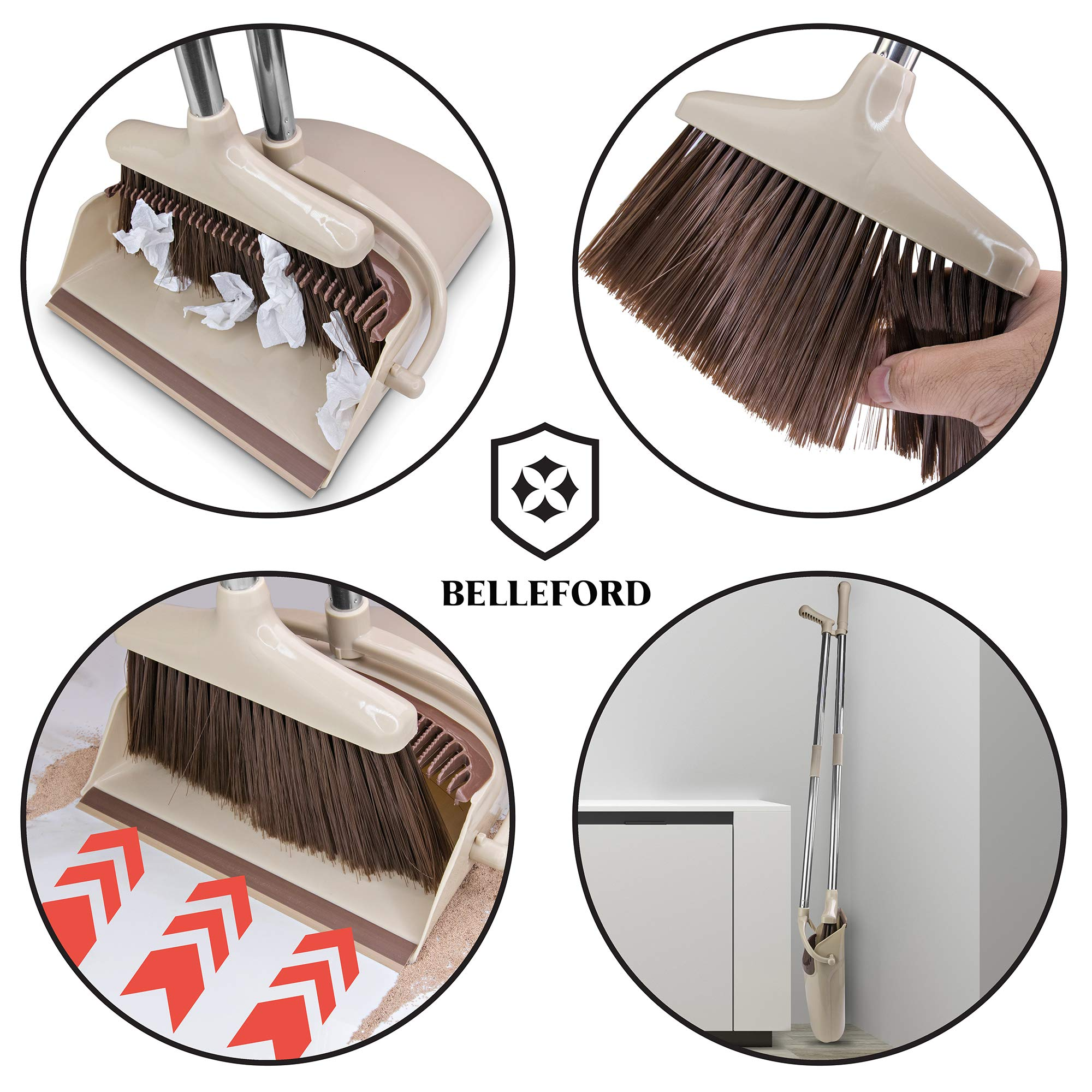 Broom and Dustpan Set [2019 Version] - Stand Up Brush and Dust Pan Combo for Upright Cleaning - Remove Hair with Built-in Wisp Scraper - Kitchen, Outdoor, Hardwood Floor & Garage Tiles Clean Supplies by Belleford (Image #3)