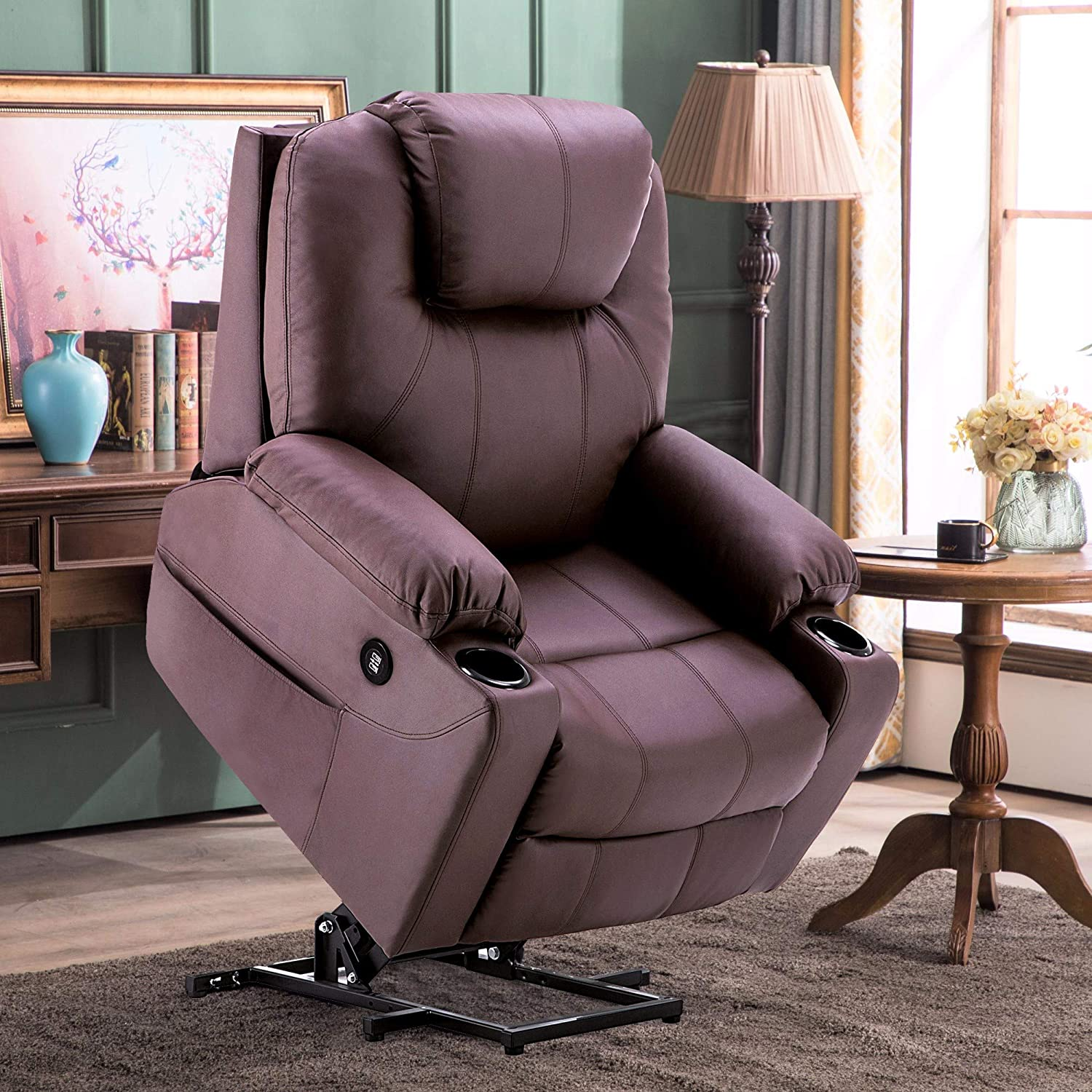 Mcombo Electric Power Lift Recliner Chair Sofa with Massage and Heat for Elderly, 3 Positions, 2 Side Pockets and Cup Holders, USB Ports, Faux Leather 7040 Light Brown