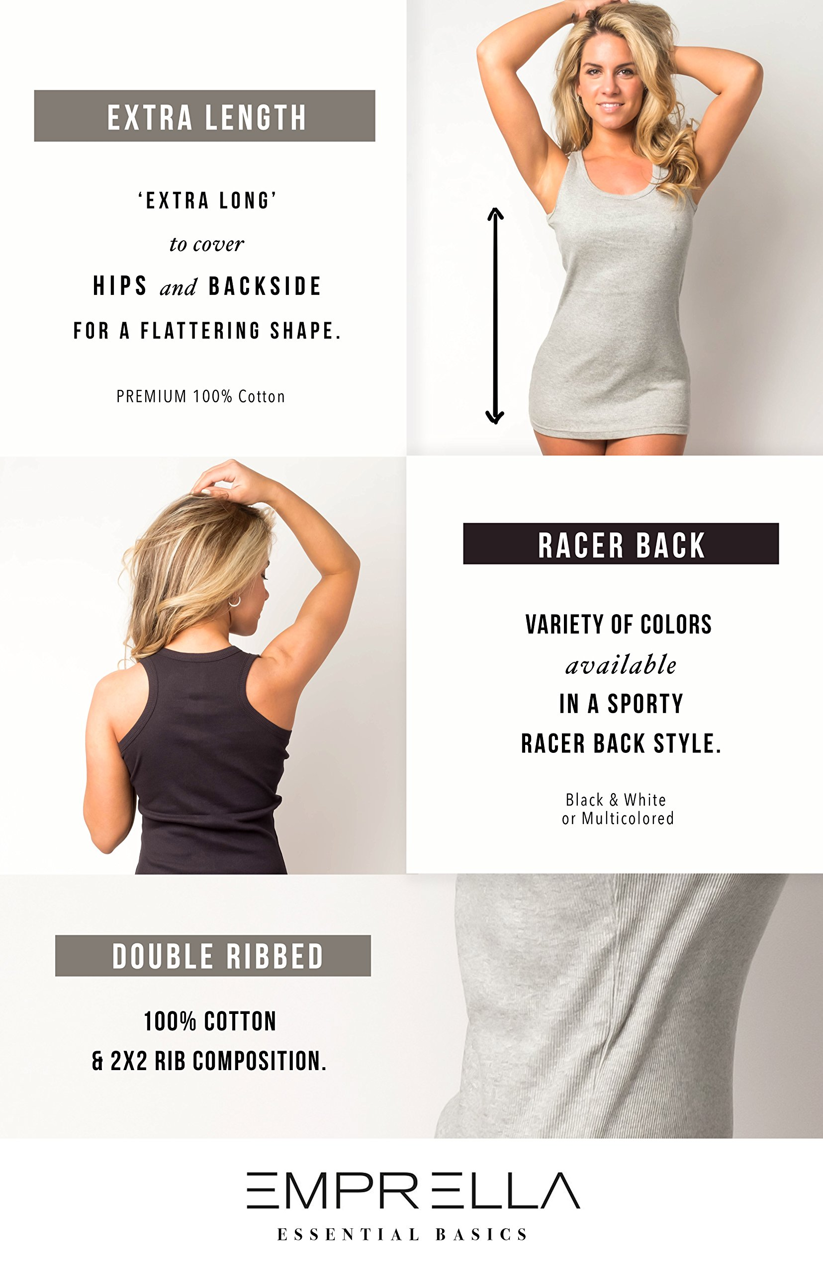 Emprella Tank Tops for Women Racerback Tanks Pack of 4 Assorted Colors (Large, Assorted 1) by Emprella (Image #3)