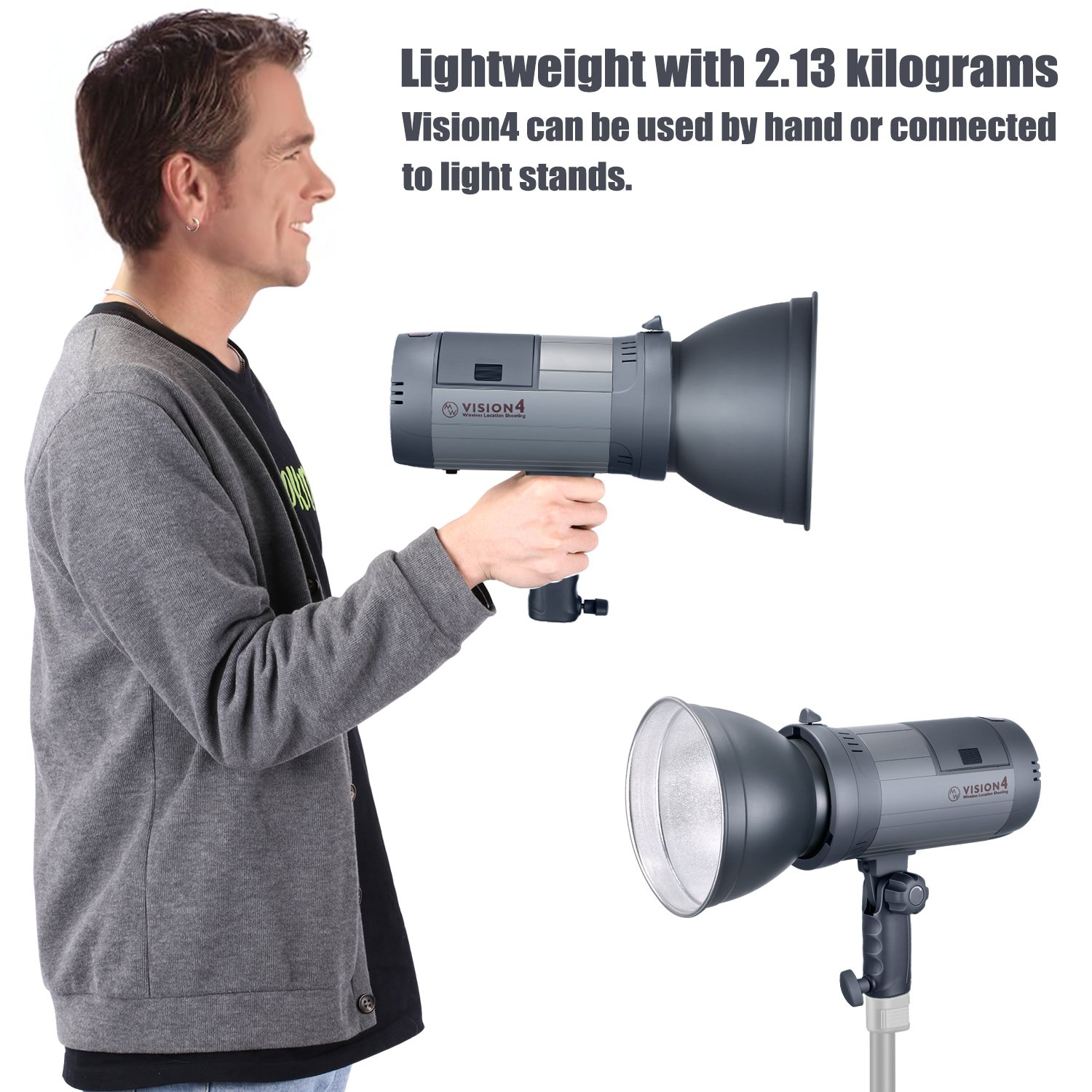 Trigger Included 700 Full Power Flashes Neewer 300W Li-ion Battery Powered German Engineered Outdoor Studio Flash Strobe with 2.4G System Bowens Mount 4.7 Pounds,Vision 4 for Location Shooting