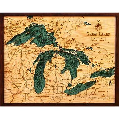 Woodchart Great Lakes Wooden Nautical Chart Map, 16 x 20