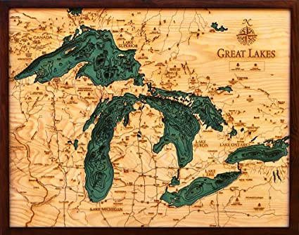 Amazoncom Woodchart Great Lakes Wooden Nautical Chart Map X - Lake erie topographic map