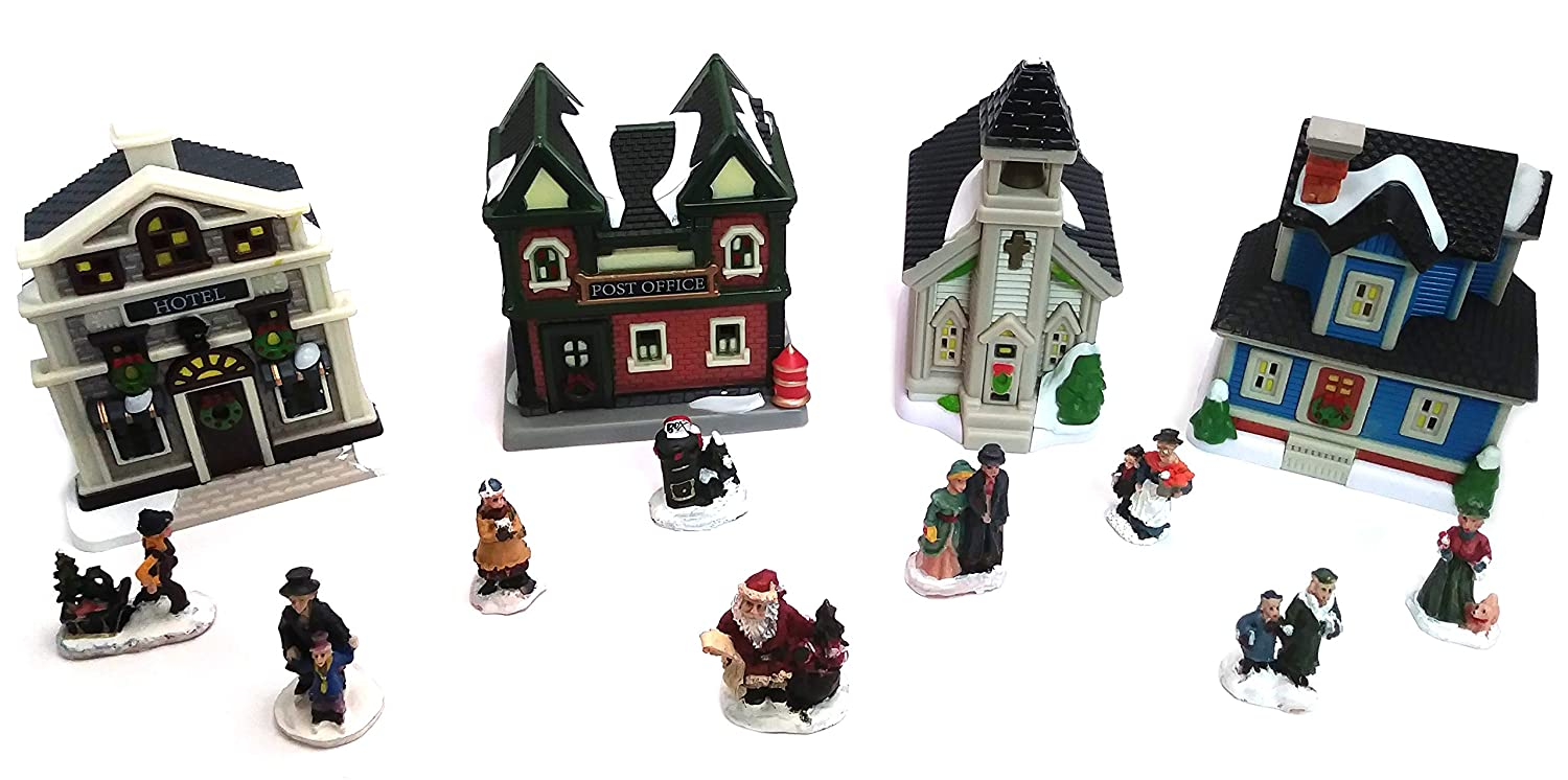 Sunflower Day Plastic Christmas Houses Village Set - Miniature Lighted 17-Piece Holiday Scene Decorations Includes 4 Buildings, 4 Tea Lights, and 9 Figurines