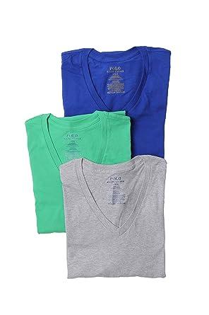 RALPH LAUREN Classic V-Neck T-Shirts 3-Pack (Small, Royal