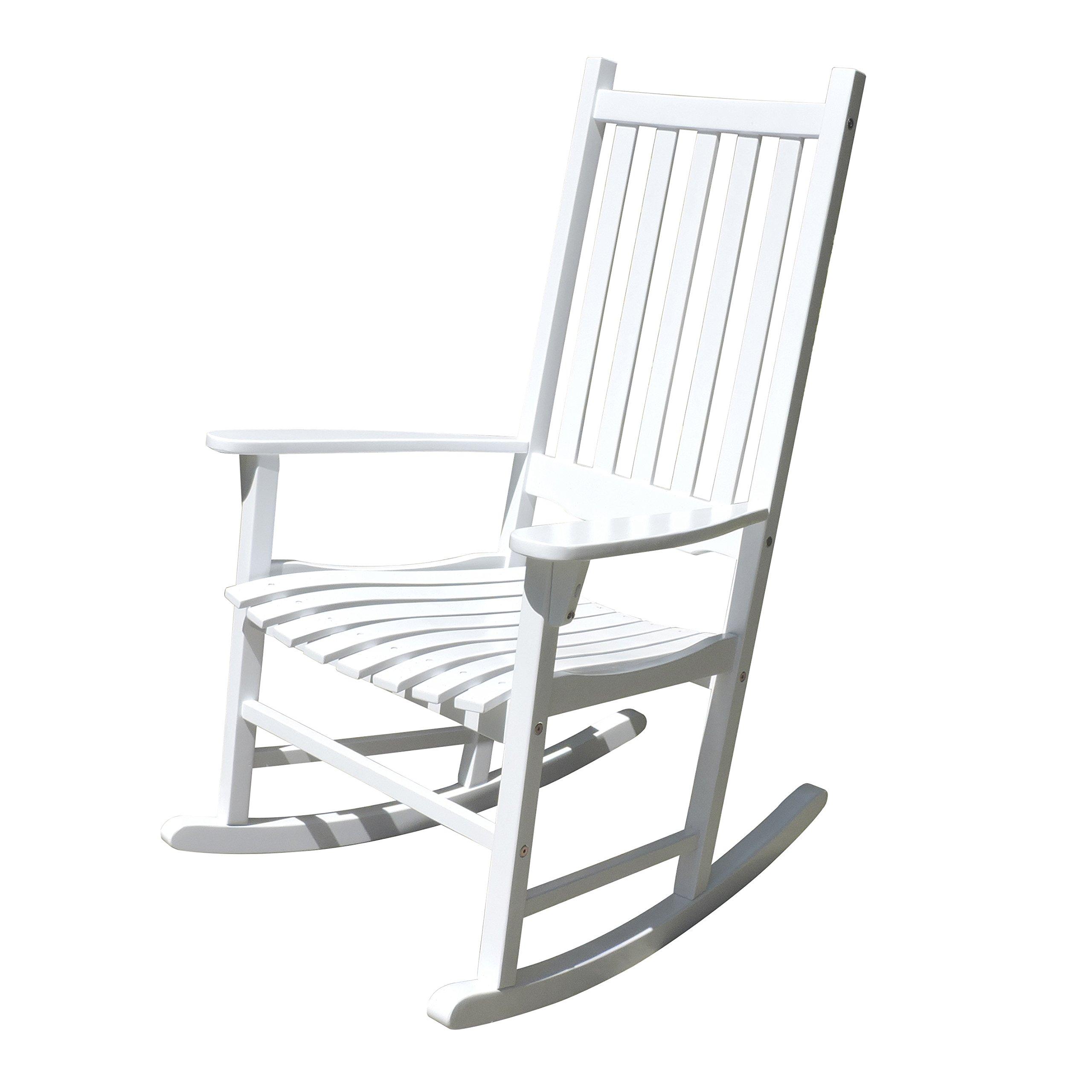 Merry Garden - White Porch Rocker/Rocking Chair Acacia Wood by Merry Garden