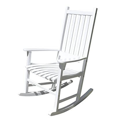 merry garden white porch rockerrocking chair acacia wood - Patio Rocking Chairs
