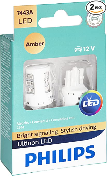 SYLVANIA 7443A Compatible 7444 T20 Amber LED Bulb, Contains 2 Bulbs
