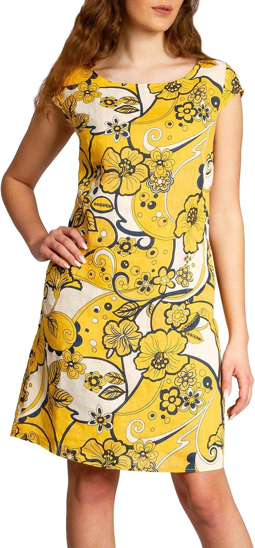Abstract Flower Print Caspar SKL035 Women Knee-Length Italy Linen Summer Dress