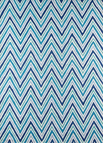 Momeni Rugs Geo Collection, Hand Hooked Contemporary Area Rug, 5 x 7 , Blue