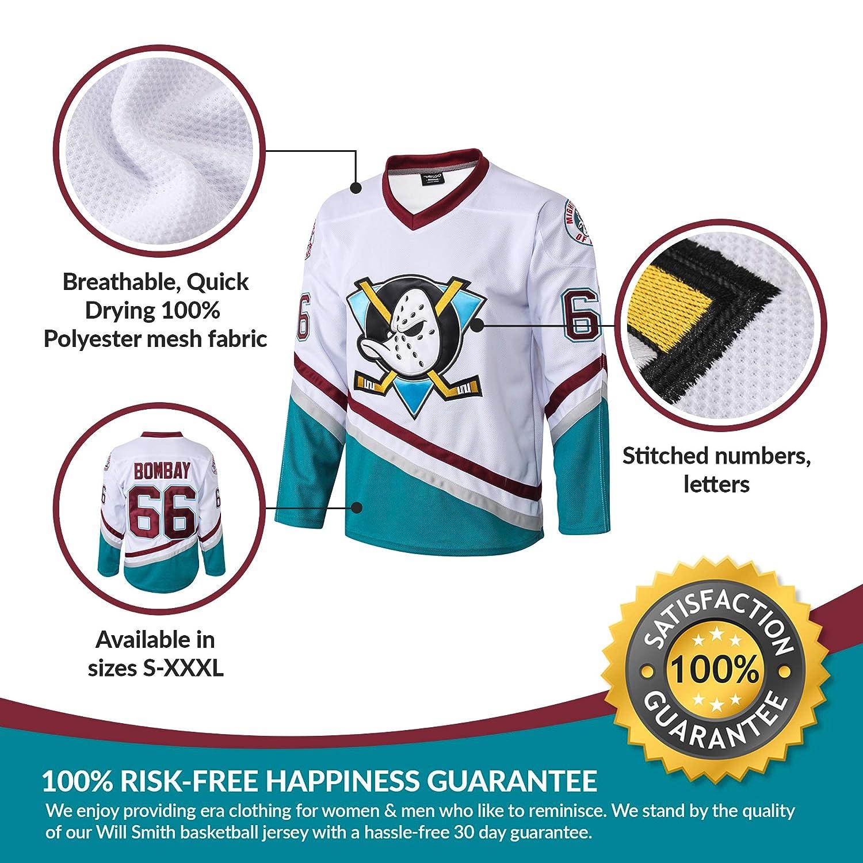 1c8a3abf37a Amazon.com : AFLGO Bombay #66 Mighty Ducks Ice Hockey Jersey S-XXXL Green,  Gordon Stitched Clothing Throwback, Top Bonus Combo Set with Wristbands :  ...