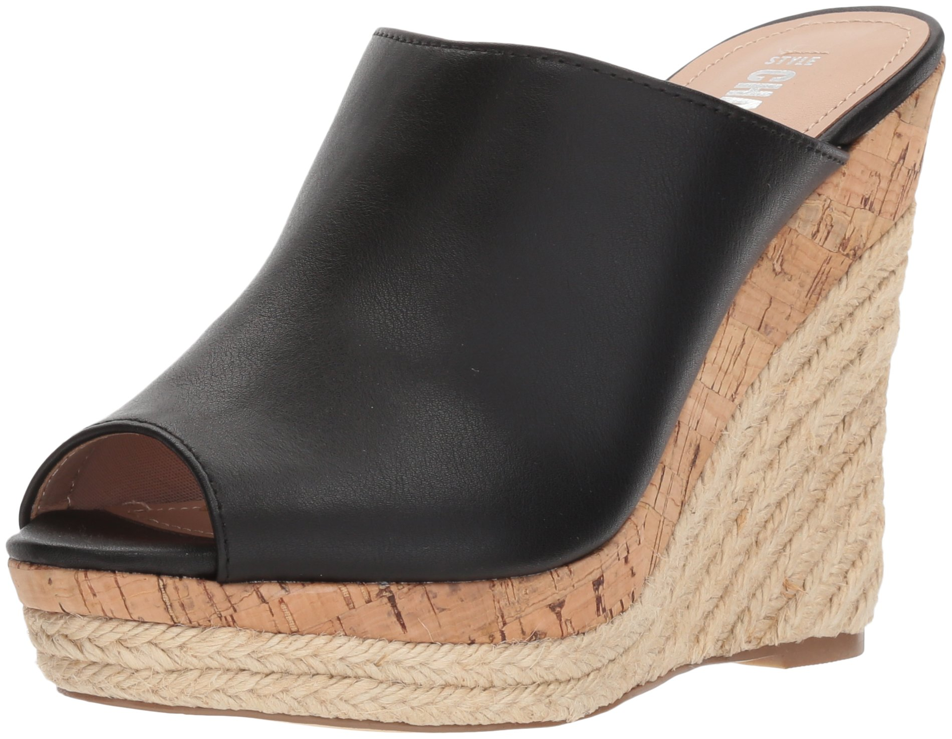 Style by Charles David Women's Angie Wedge Sandal, Black, 9.5 M US
