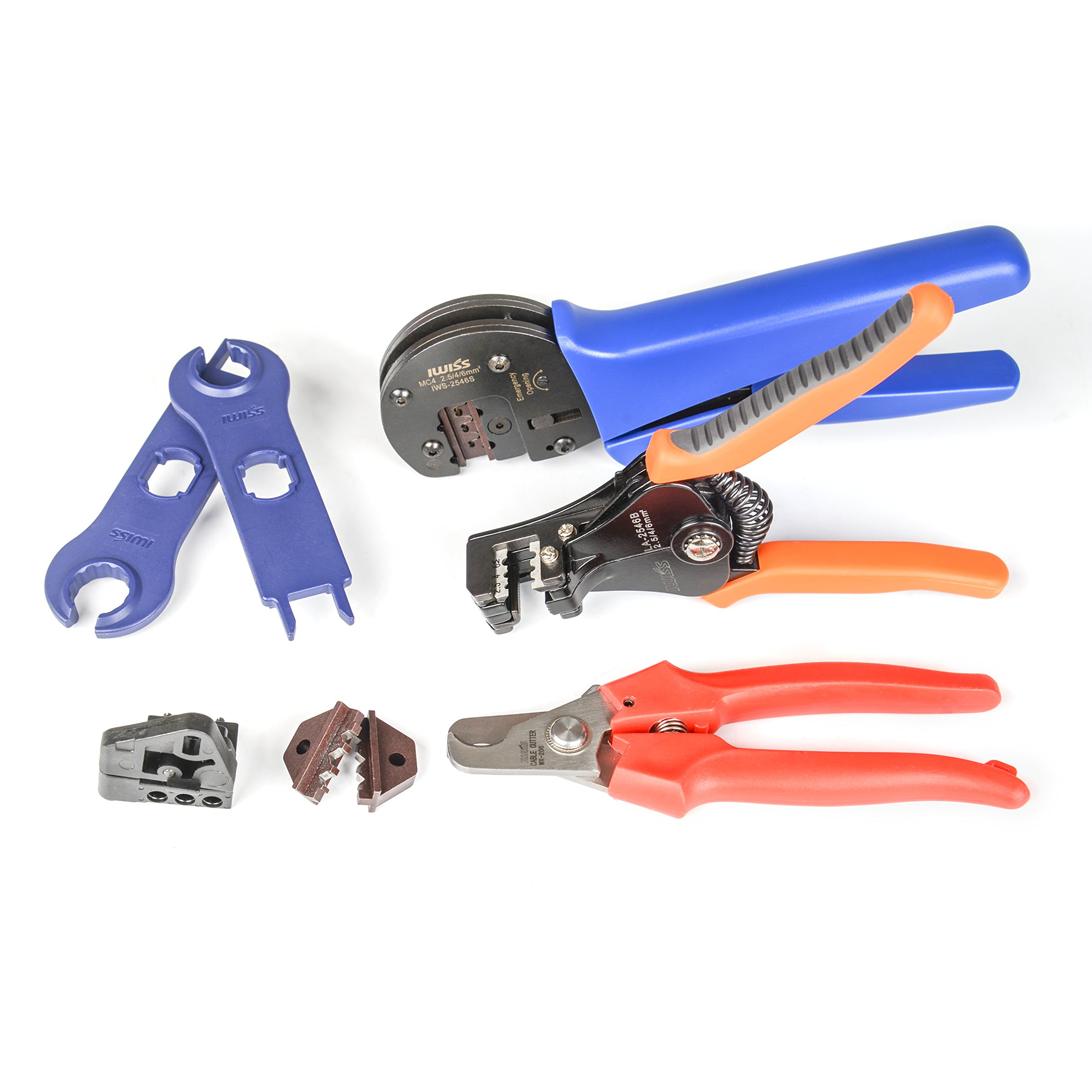 IWISS Solar Crimping Tool Kit with Wire Cable Cutter, Stripper, MC3 MC4 Crimper and MC4 Connectors Assembly and Disassembly Tool Solar PV Panel Tool Kit by IWISS (Image #4)