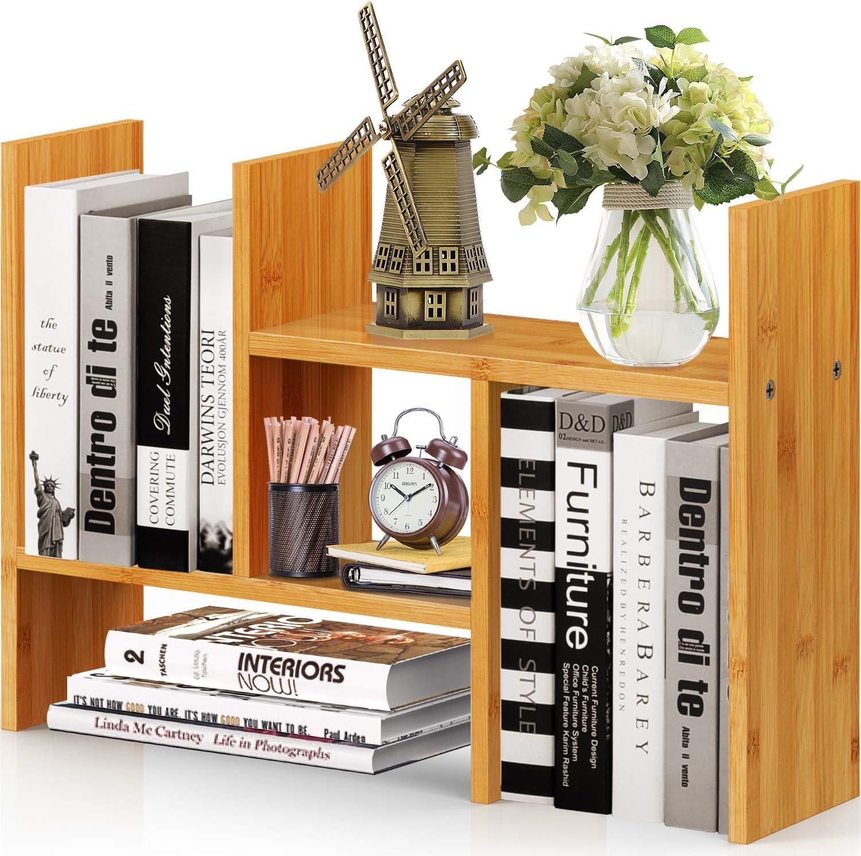 Natural Bamboo Desktop Bookshelf, Adjustable Desk Shelf, Office Storage Desk Organizer, Multipurpose Rack for Office Supplies, Home, Bathroom, Kitchen by Pipishell