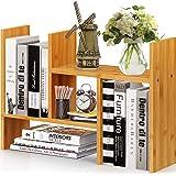 Natural Bamboo Desktop Bookshelf, Adjustable Desk Shelf, Office Storage Desk Organizer, Multipurpose Rack for Office…