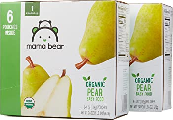 of 4 Ounce Stage 1 Mama Bear Organic Baby Food (Pear)
