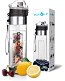 NEW Improved Unique Bottom Loading Fruit Infuser Water Bottle Complete Bundle Includes Bottle Brush, Insulating Sleeve & Infusion Recipe eBook. Leak Proof Sweat Proof. Ultimate Healthy Hydration Gift!