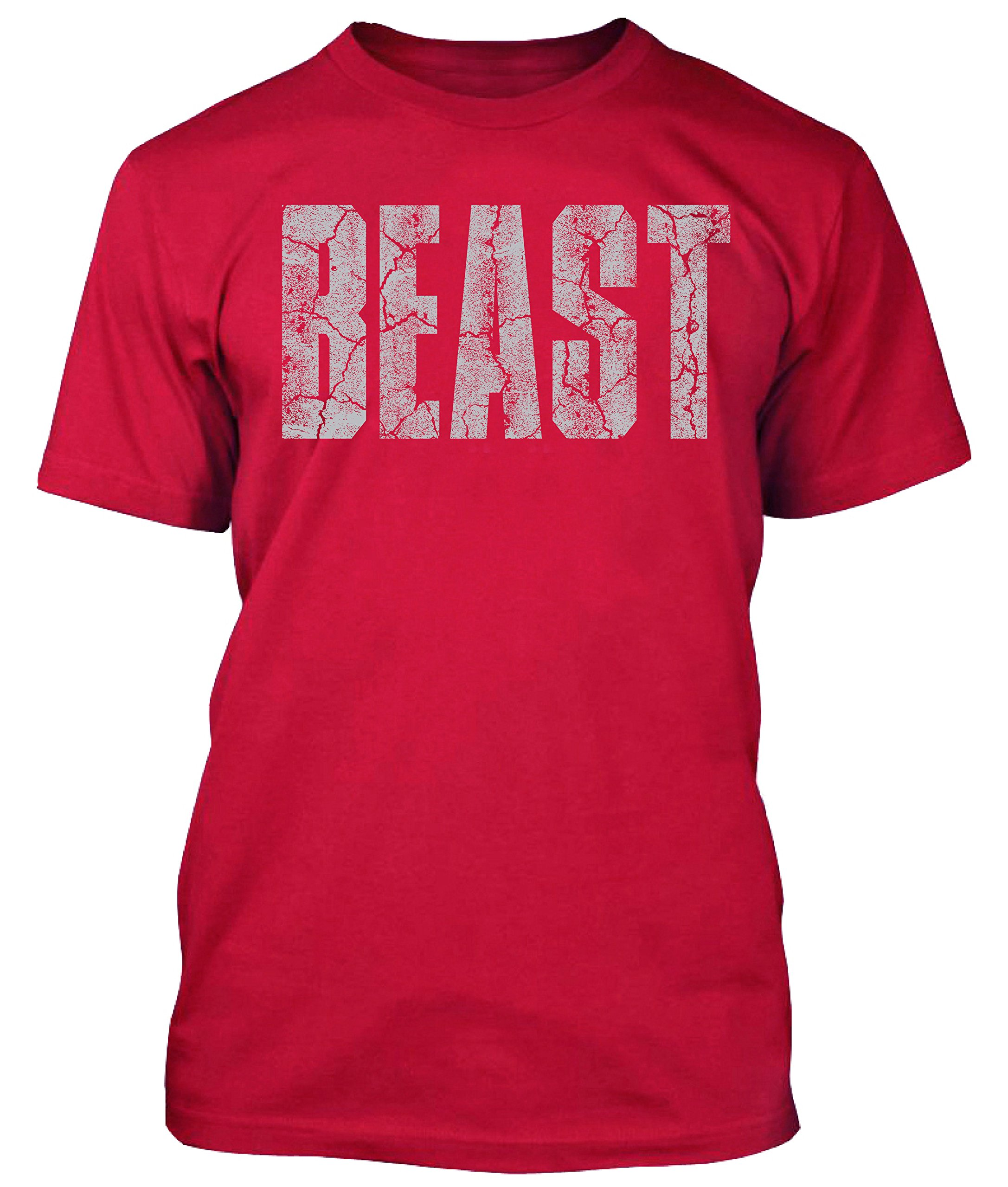 New Generation Apparel Beast Shirt Gym Workout Wear Weightlifting (L, Red)