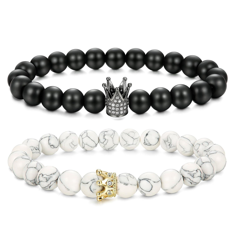 Finrezio Bead Bracelets for Men Women Natural Stone Couples Bracelets 8mm