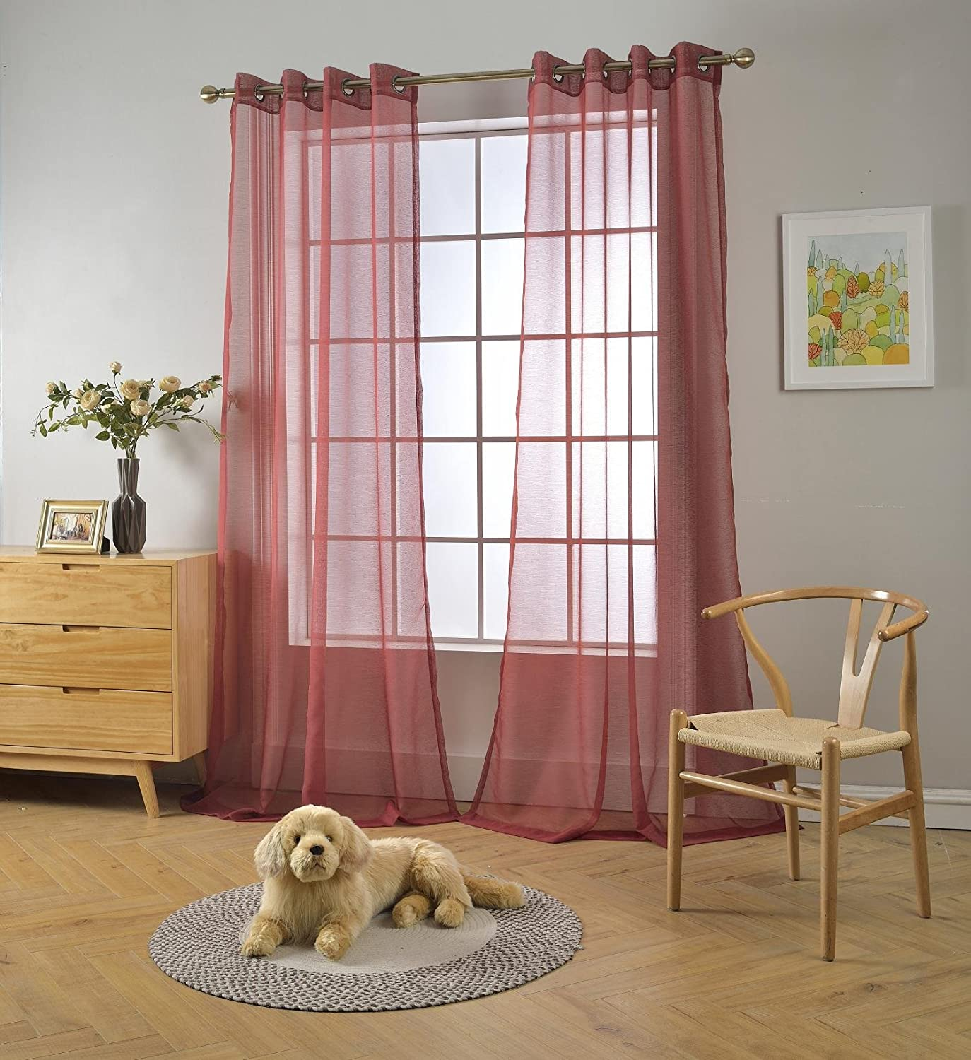 """MIUCO 2 Panels Grommet Textured Solid Sheer Curtains 84 Inches Long for Bedroom (2 x 54 Wide x 84"""" Long) Burgundy"""