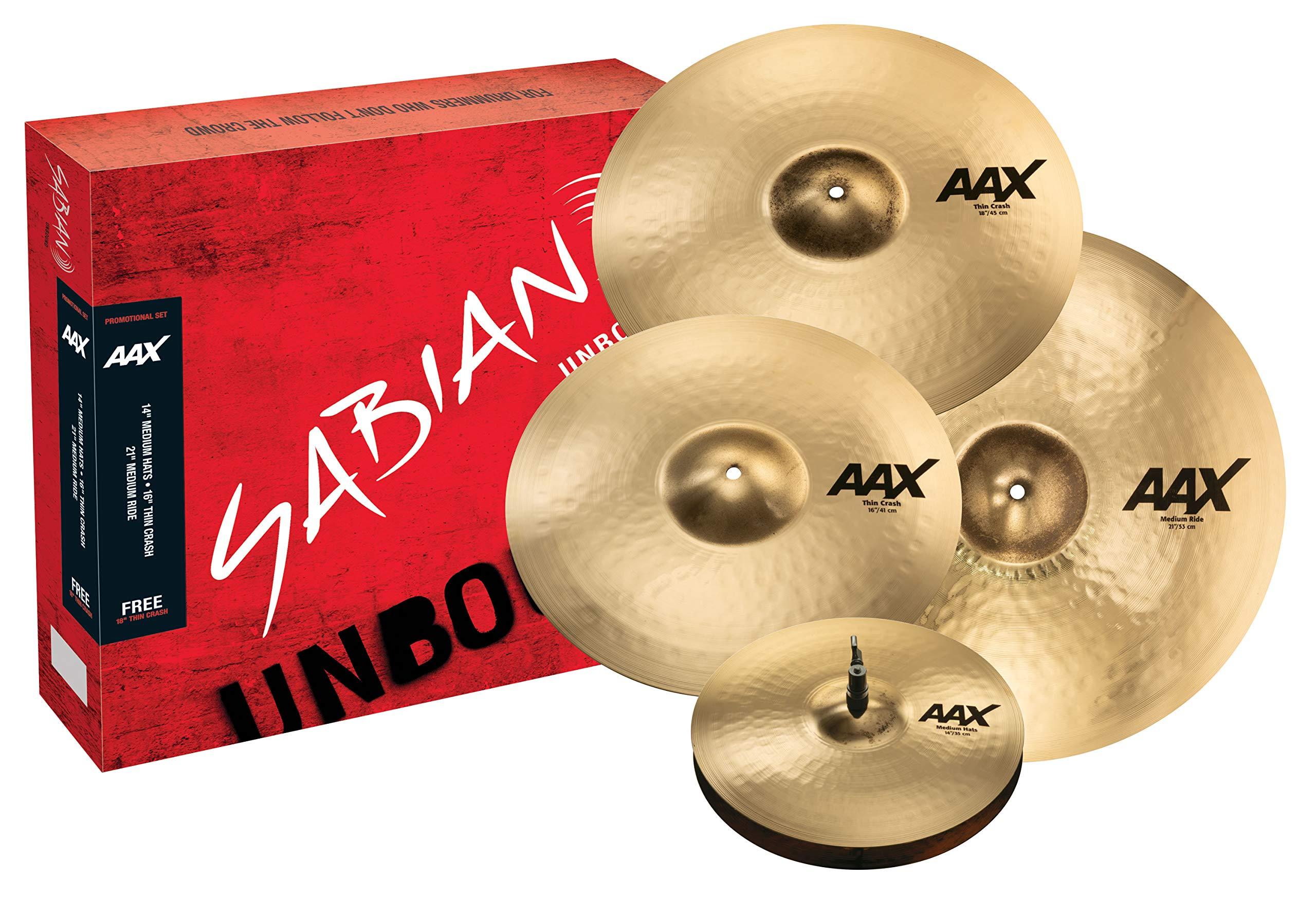Sabian Cymbal Variety Package, AAX Promotional Set Brilliant Finish, ((14'' hats, 16'' Crash, 21'' Ride, Free 18'' Crash) (25005XCPB) by Sabian